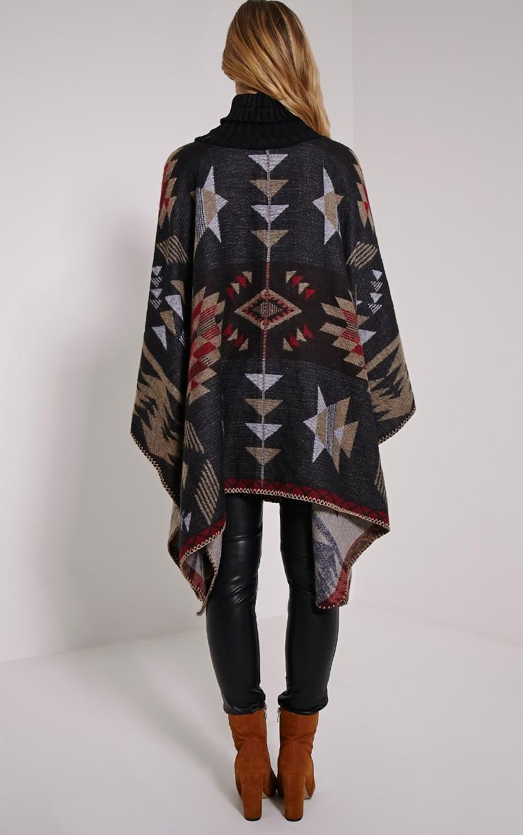 Jeska Black Knitted Neck Aztec Cape 2