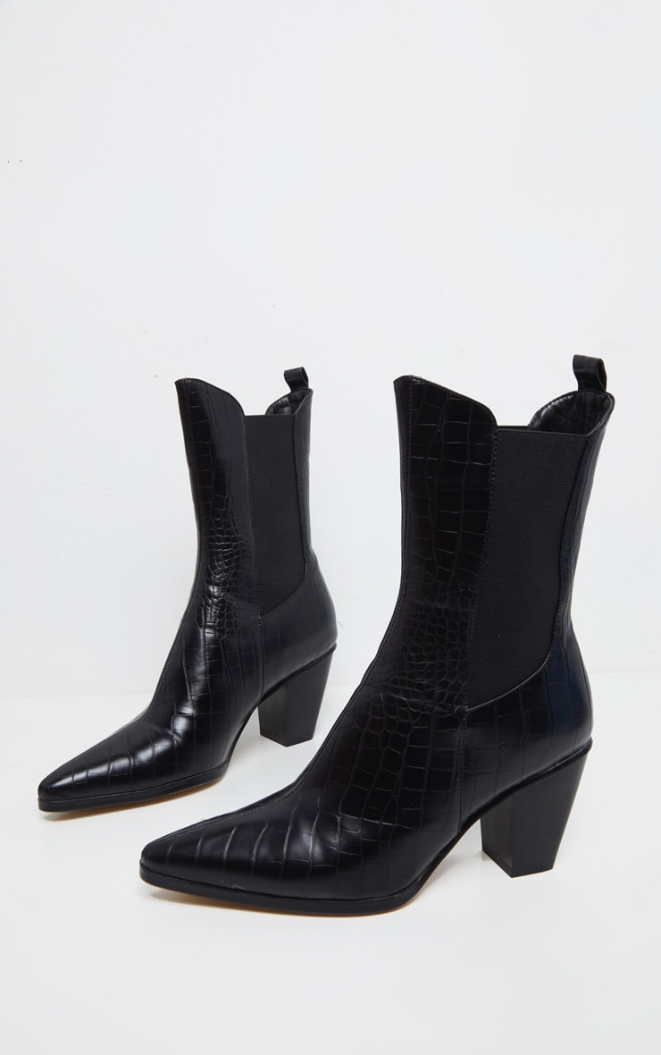 Black Chelsea Western High Ankle Boot 3