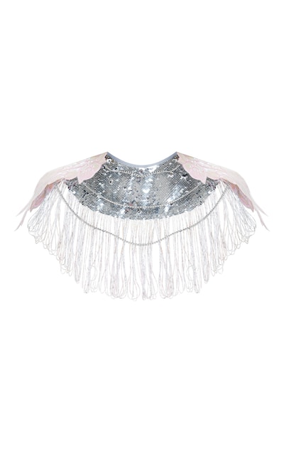 Silver Sequin Pink Unicorn Wings Cape