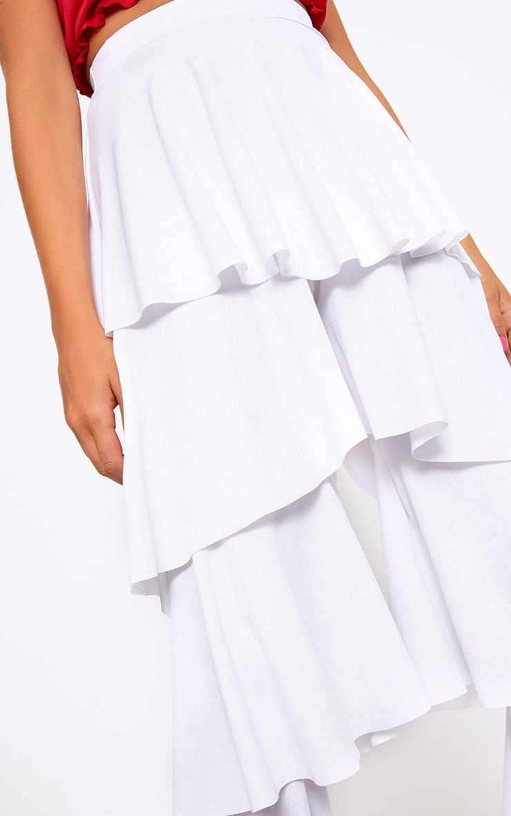 White Tiered Frill Wide Leg Trousers 5