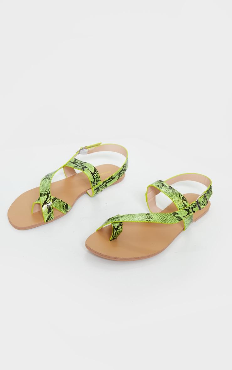 Lime Asymmetric Toe Loop Sandals 3