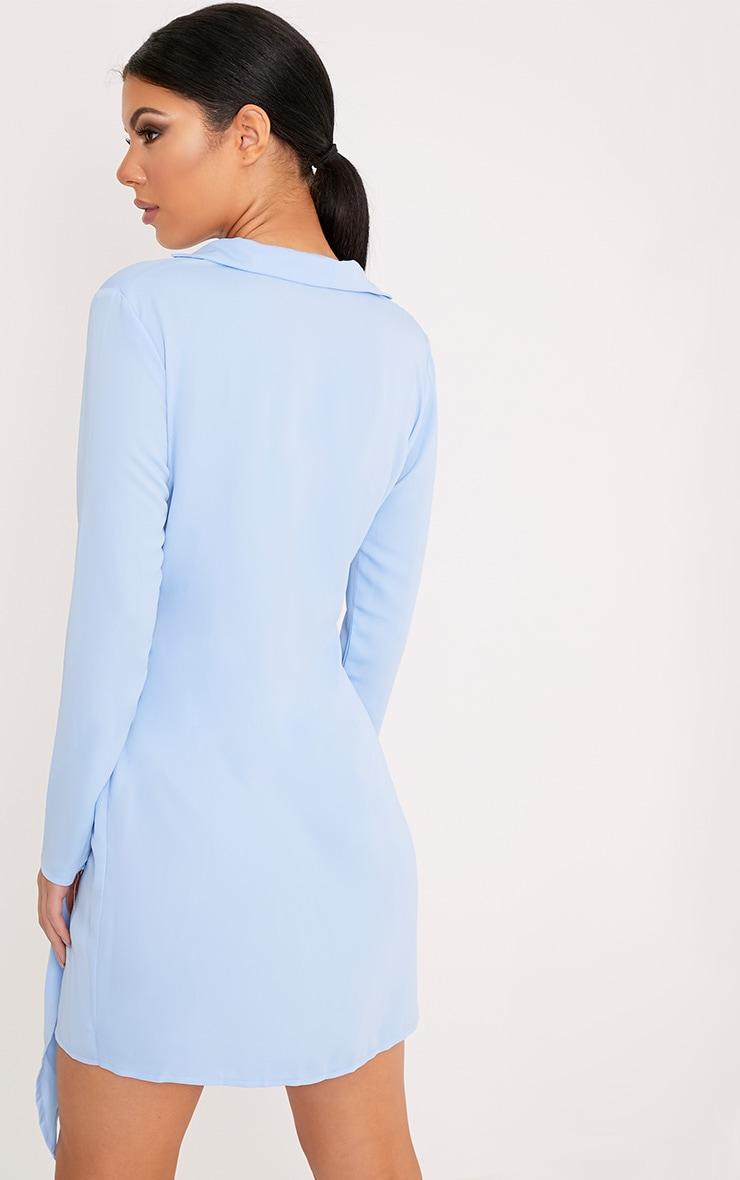 Shaylene robe chemise sans manches bleu poudré en satin à cordon à nouer à la taille 2