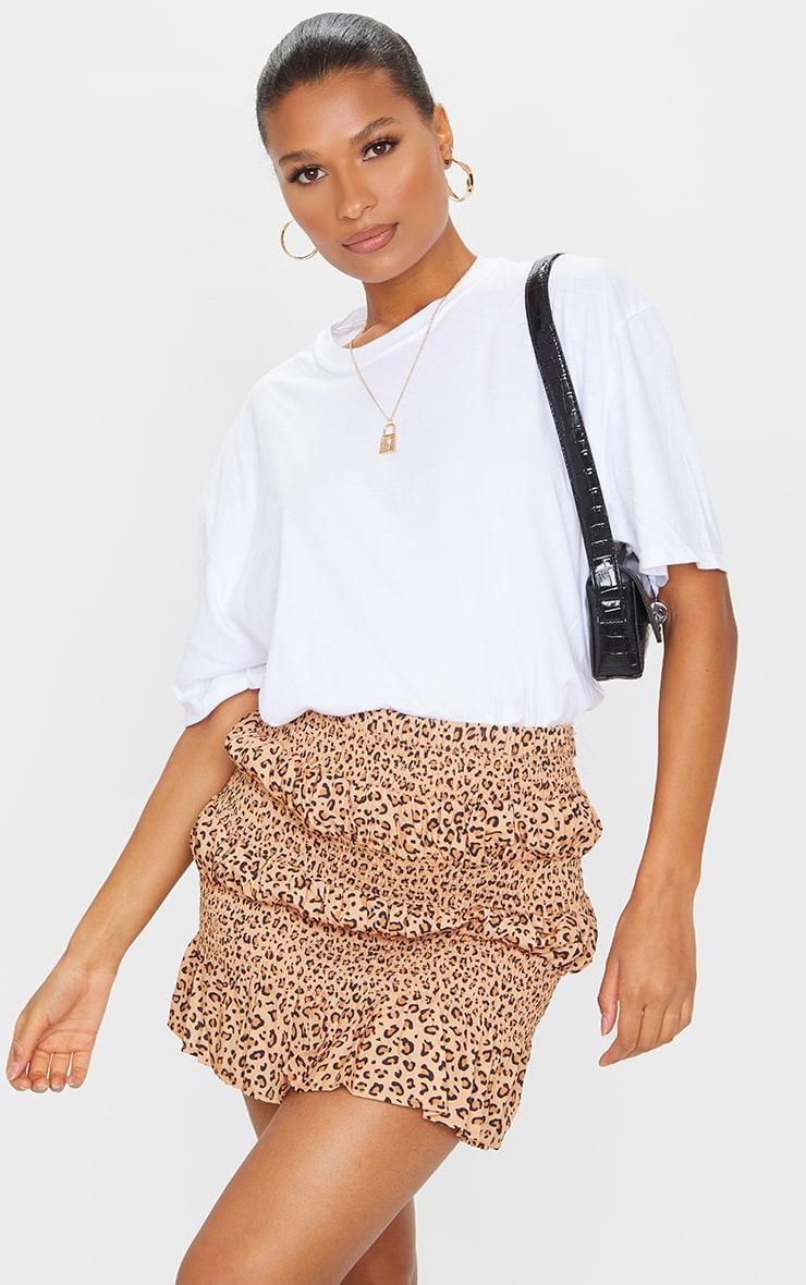 Tan Leopard Tiered Frill Mini Skirt 4