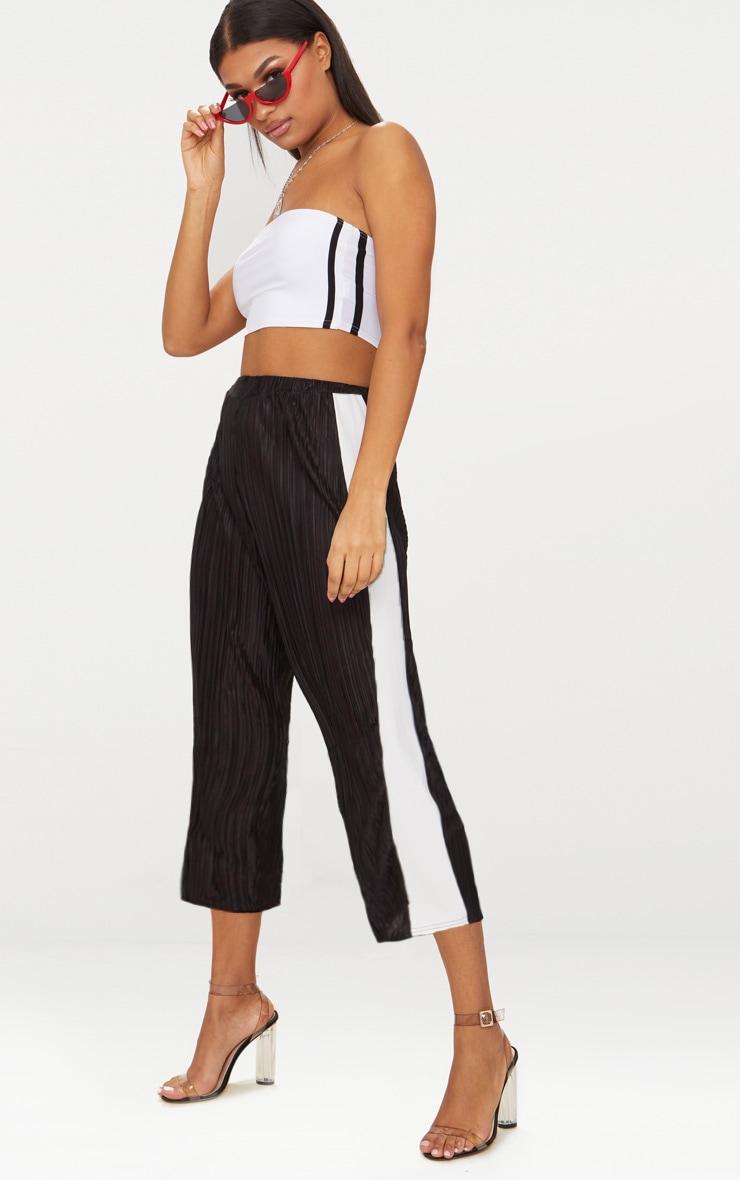 Black Contrast Stripe Plisse Culottes