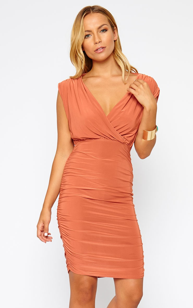 Alia Rust Ruched Detail Wrap Dress 1