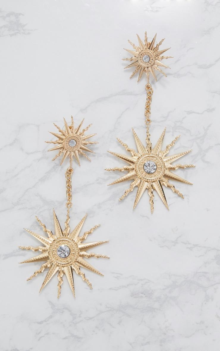 Boucles d oreilles cadran solaire doré 3
