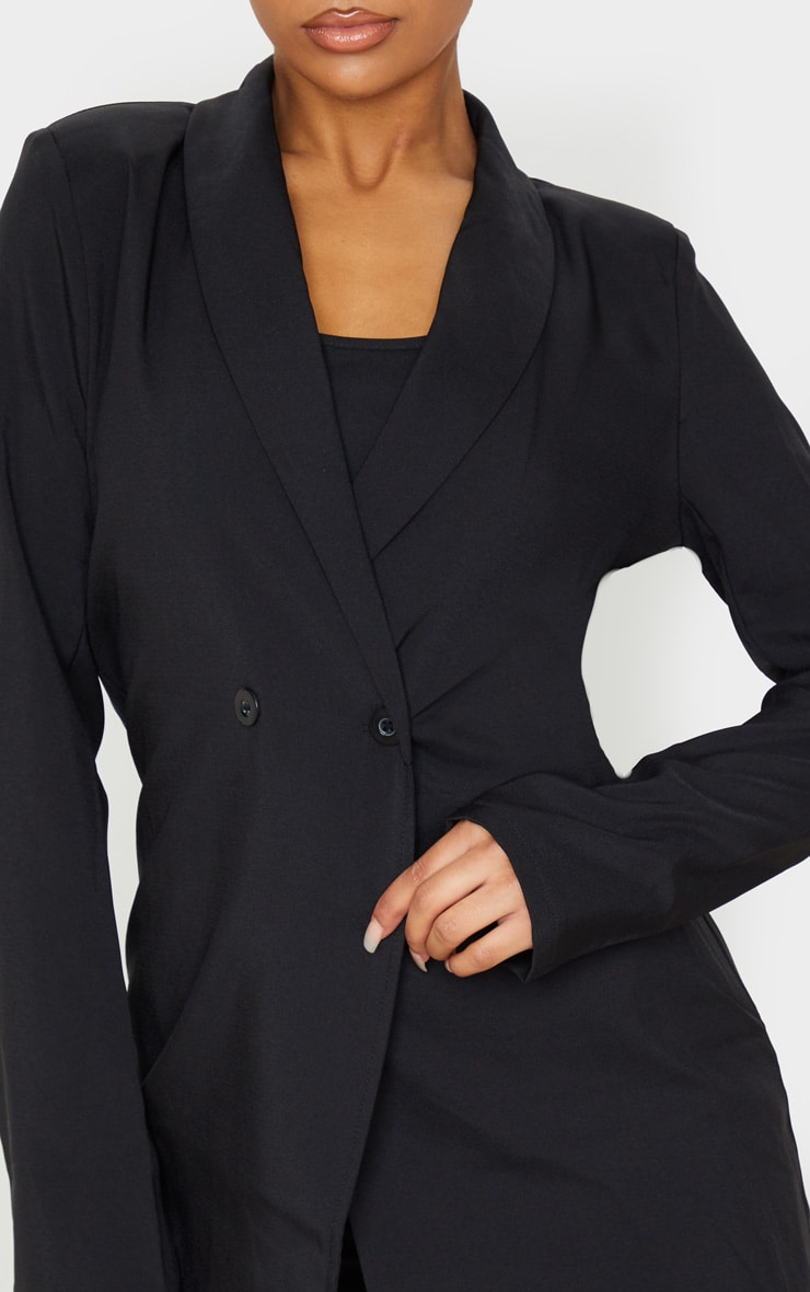 Black Shoulder Pad Double Button Blazer 5