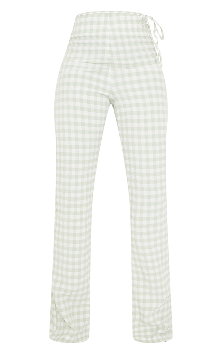 Tall Green Gingham Tie Side Trousers 5