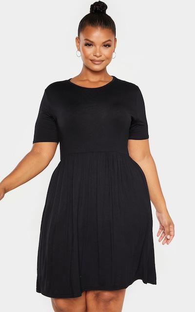 Plus Black Jersey Smock Frill Detail Dress