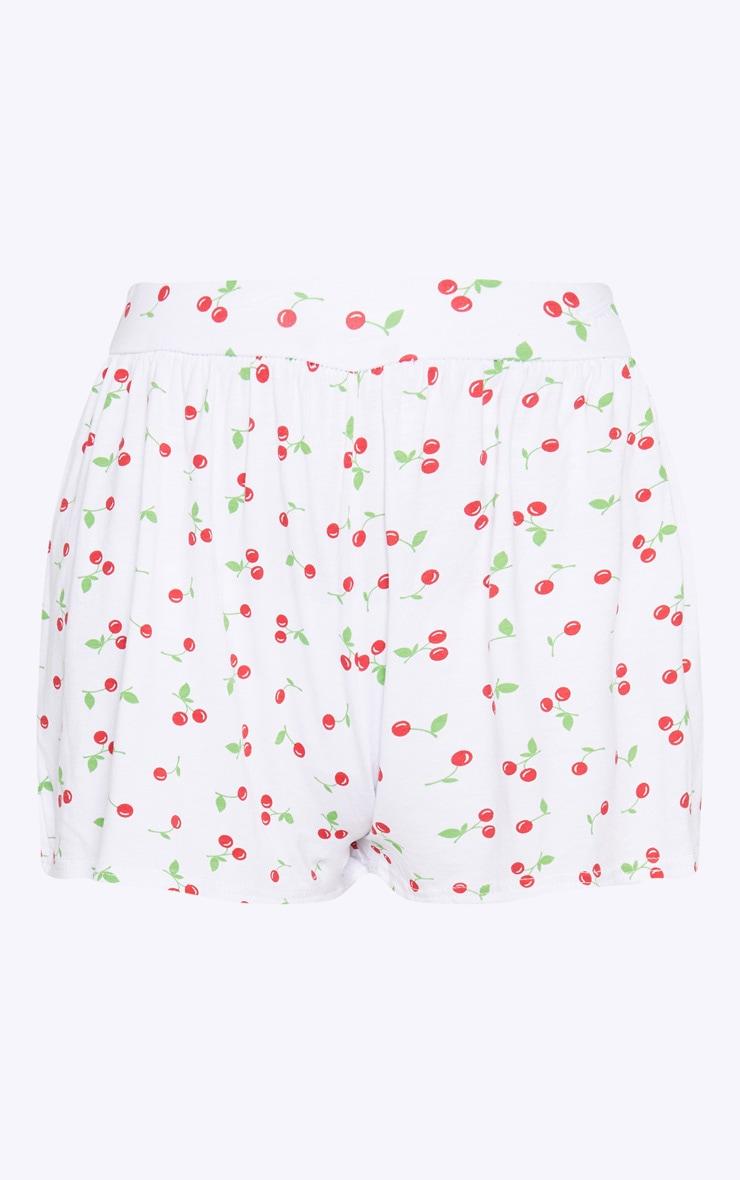 White Cherry Print Jersey Floaty Short 3