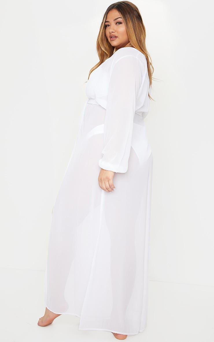 Plus White Alice Maxi Belted Beach Kimono 2