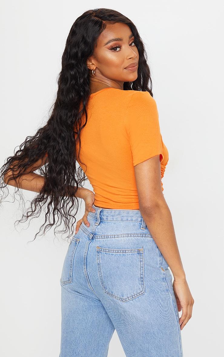 Orange Ruched Wrap Front Short Sleeve Crop Top 2