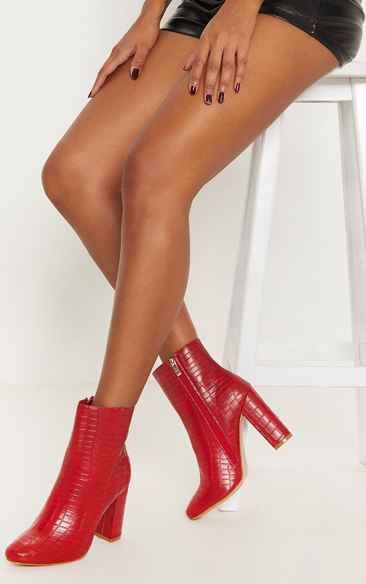 Red Faux Croc Ankle Boot 2