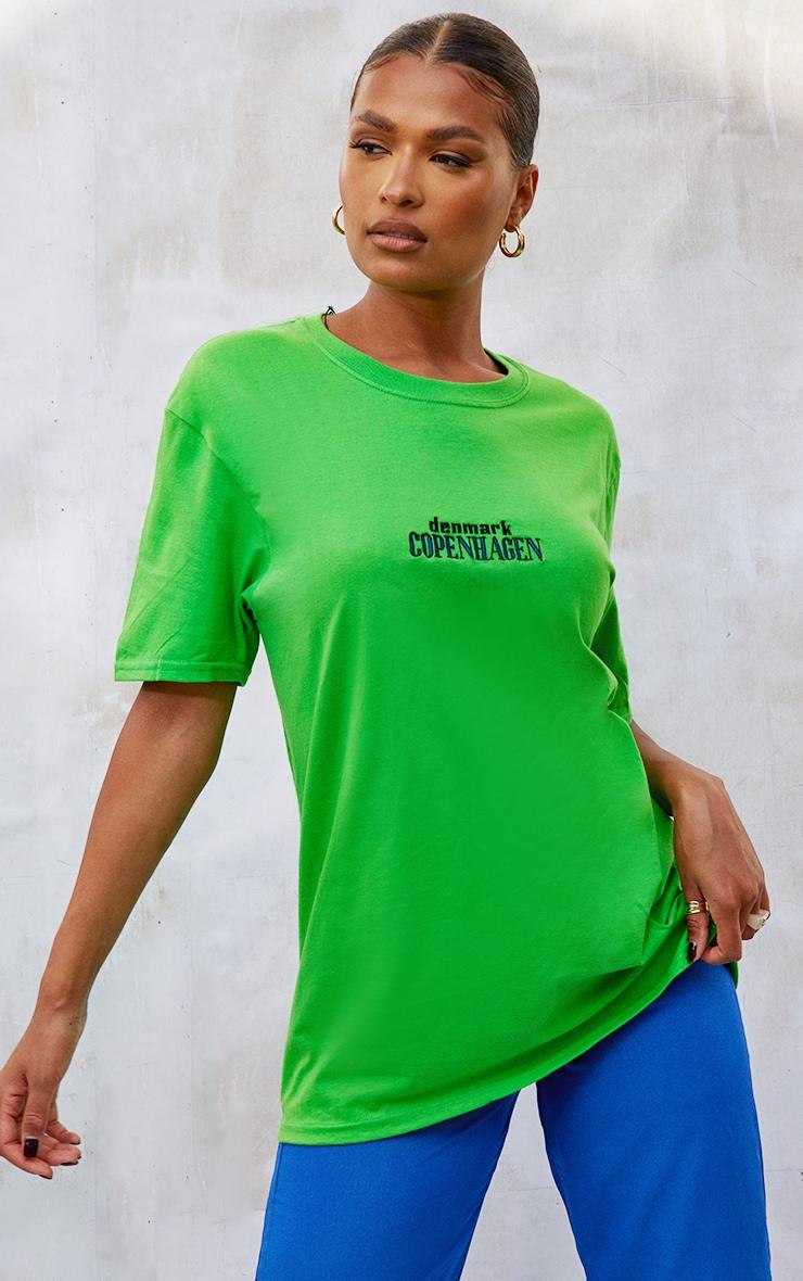 Bright Green Copenhagen Embroidered T Shirt 4