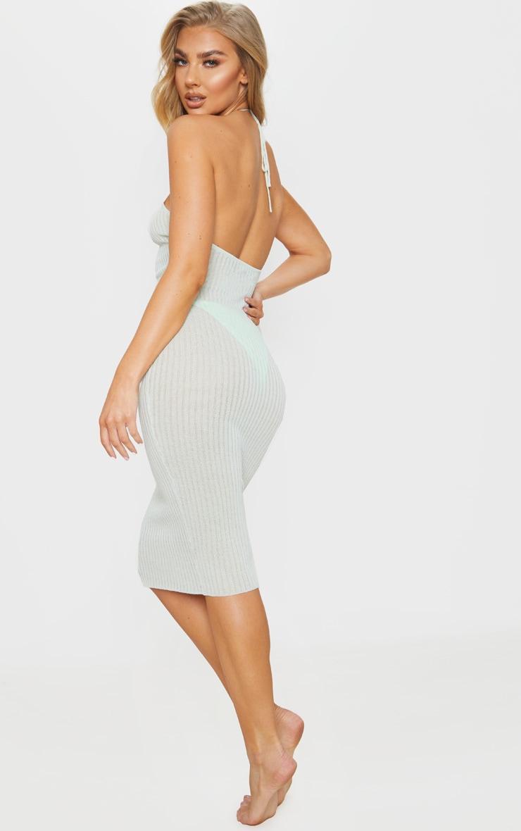 Mint Fine Knit Halterneck Midi Dress 2