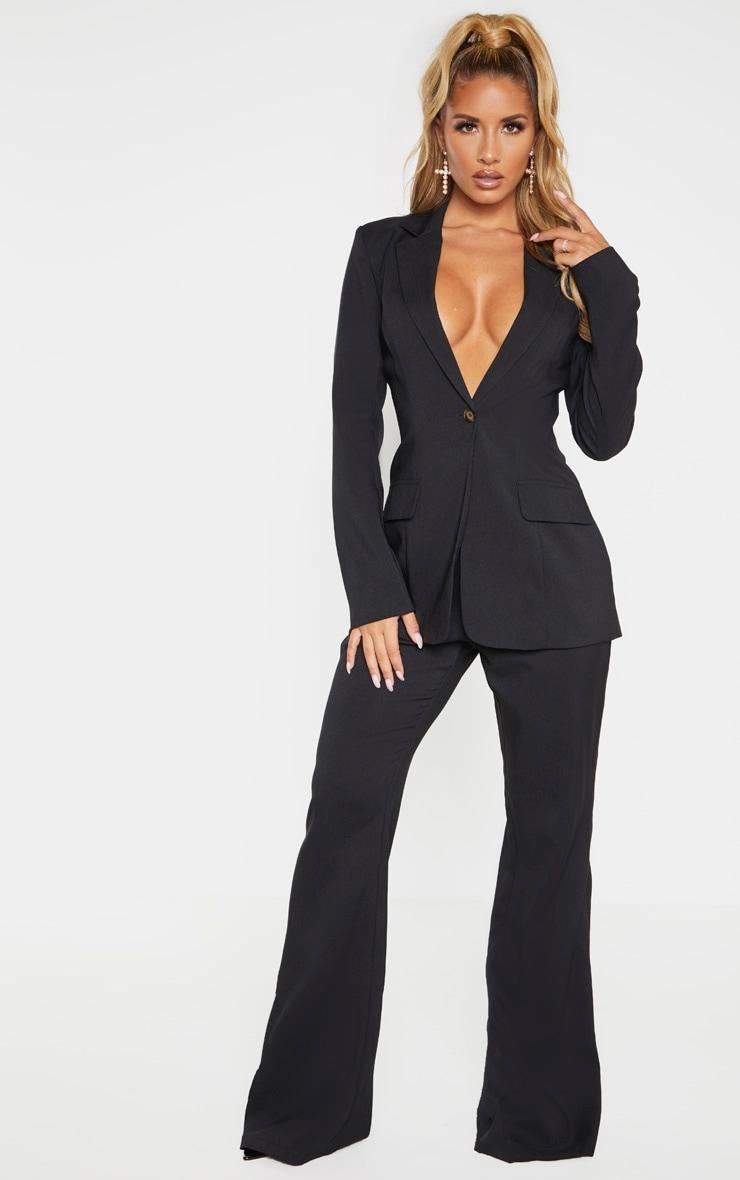 Black Structured Suit Woven Blazer    3