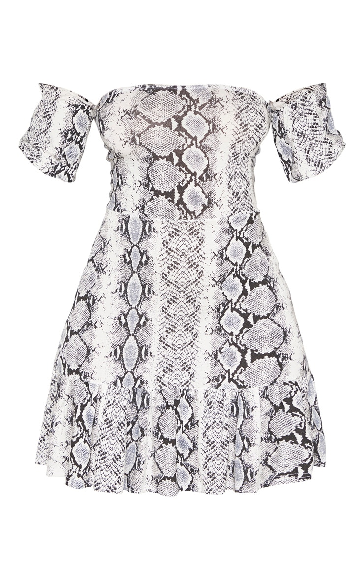 Grey Snake Print Bardot Frill Hem Skater Dress 3
