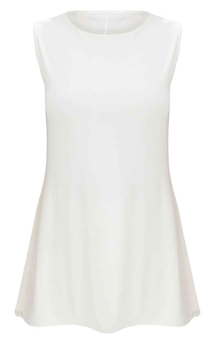 Cream Double Layer Slinky Longline Vest Top 3