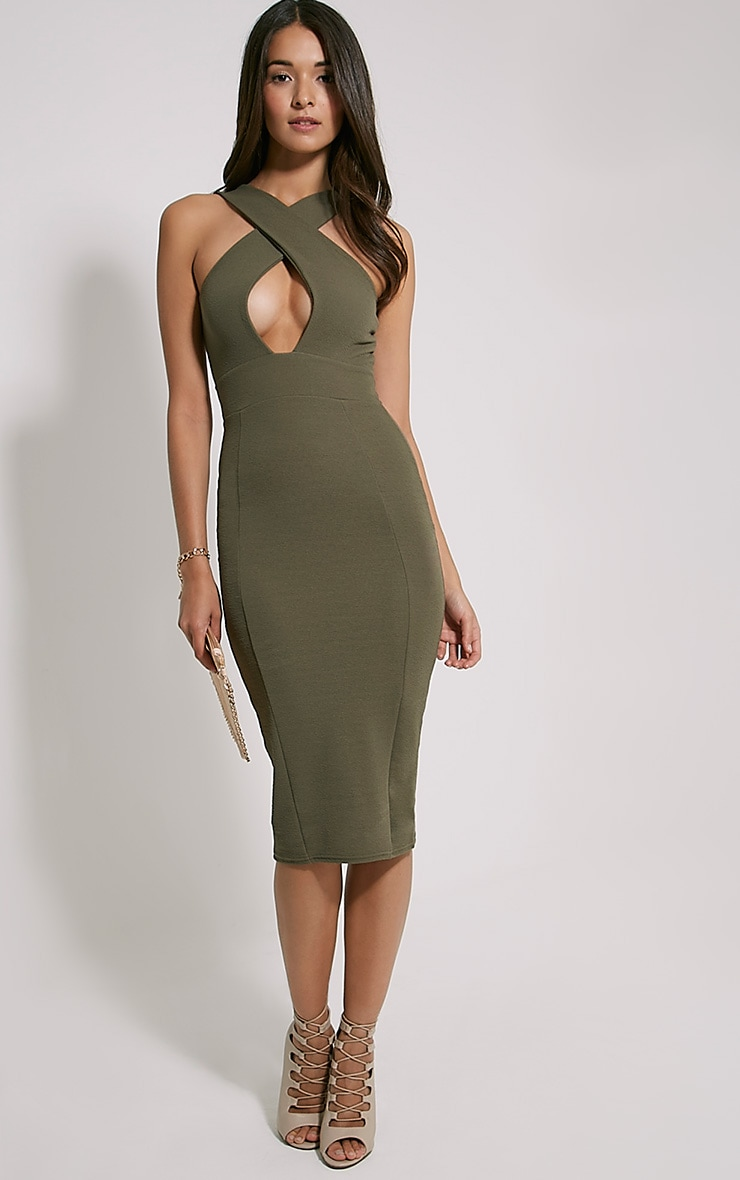 Lina Khaki Cross Front Midi Dress 1