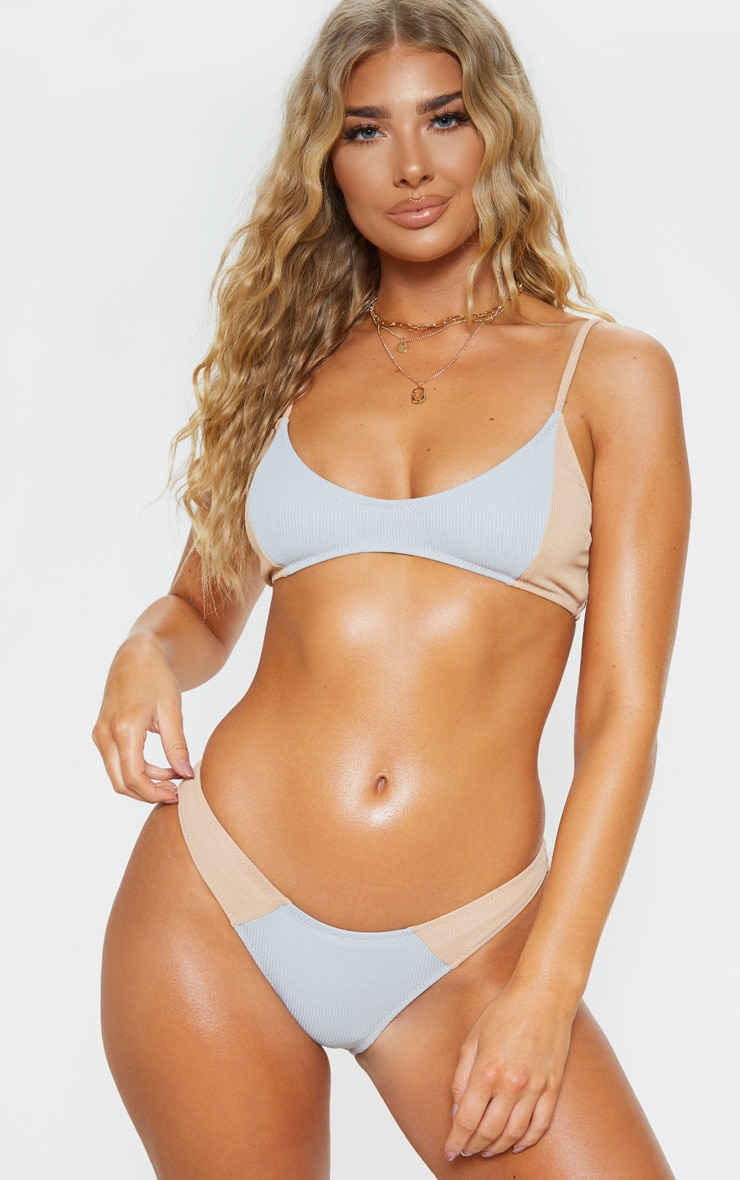 Nude Ribbed Two Tone Scoop Neck Bikini Top 5