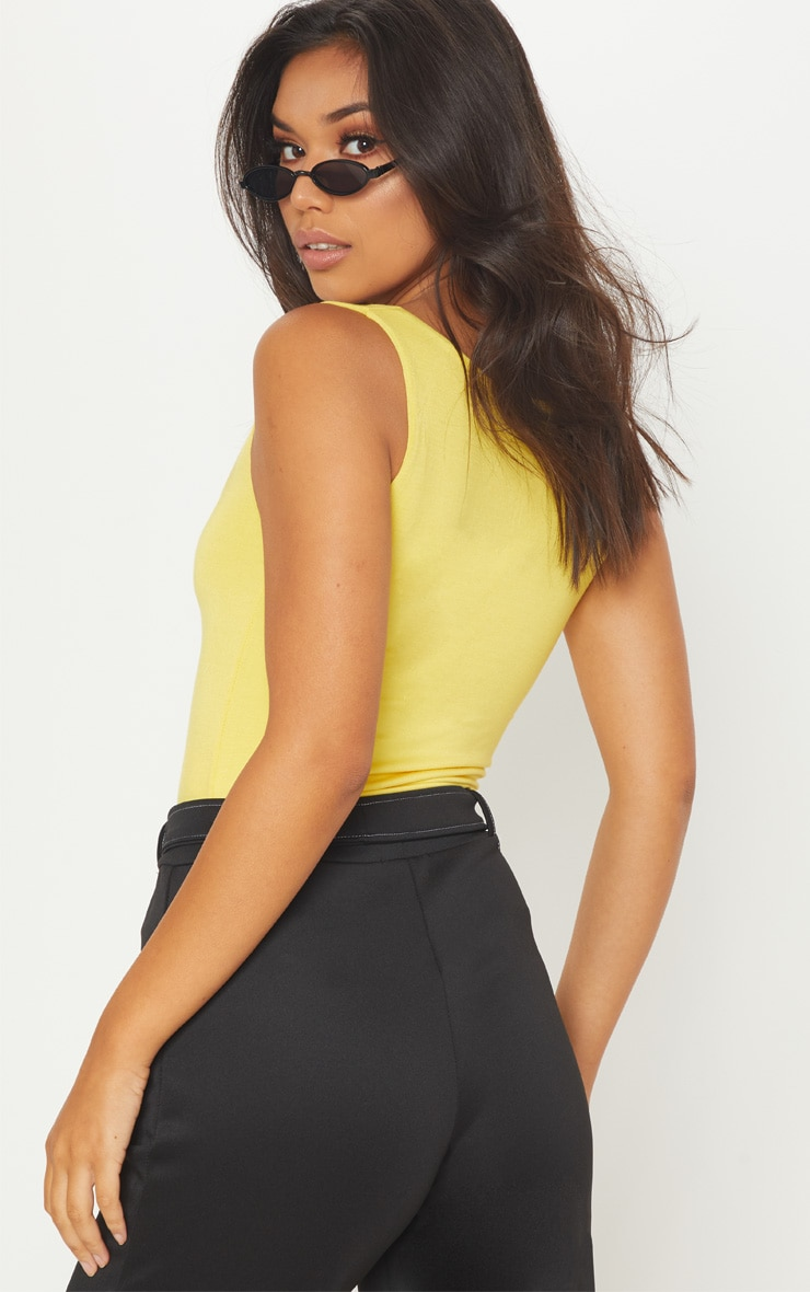 Basic Yellow Square Neck Jersey Vest Top  2