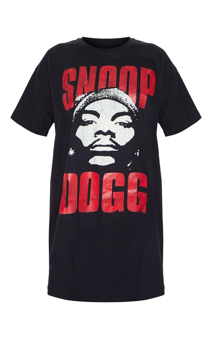 Black Snoop Dog Slogan Oversized T Shirt Dress 5