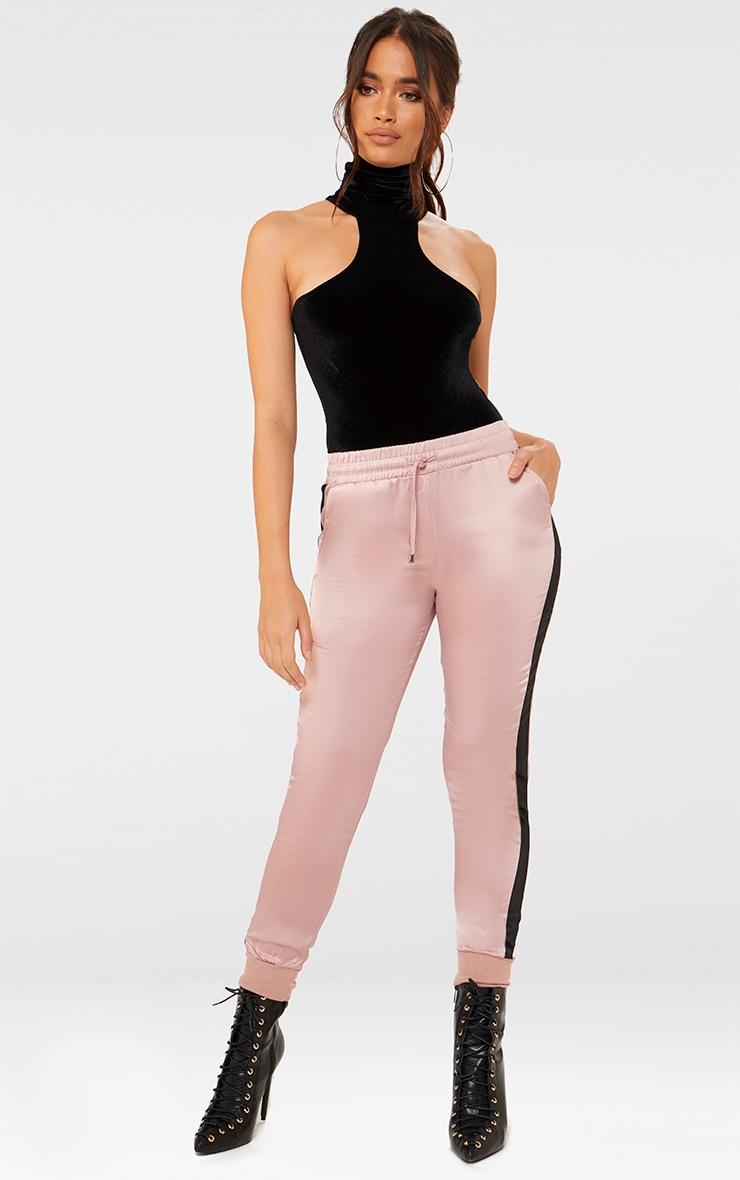 Black Velvet High Neck Cut Out Shoulder Thong Bodysuit  5