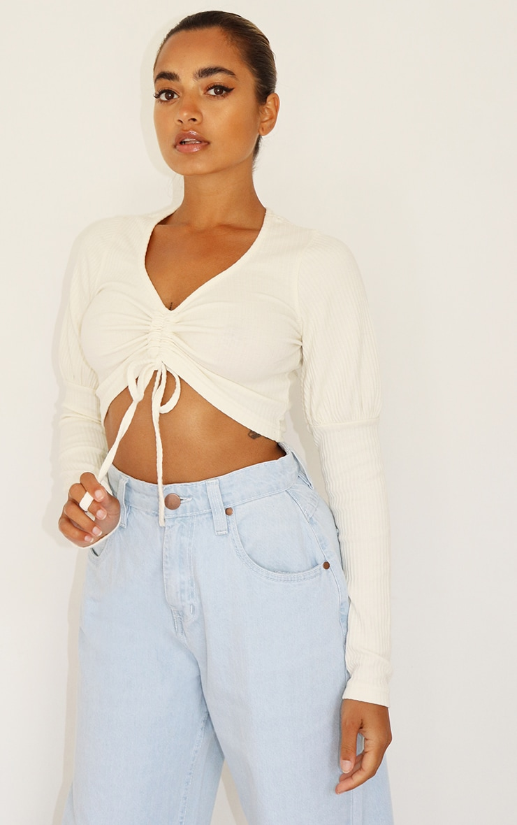 Petite Cream Ruched Front Ribbed Long Sleeve Crop Top 1
