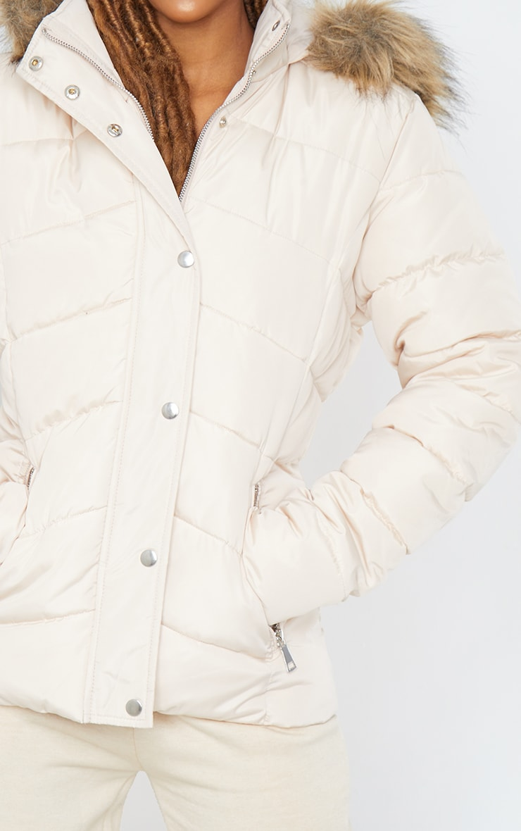 Stone Quilted Mara Faux Fur Hooded Puffer Jacket 4