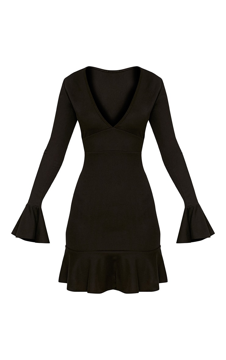 Black Plunge Frill Sleeve Bodycon Dress 3