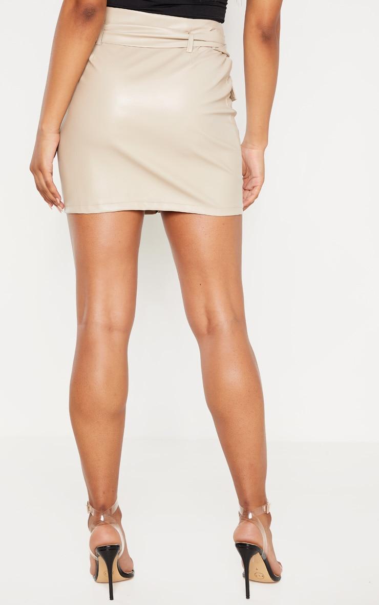 Tall Stone Belt Detail PU Mini Skirt 4