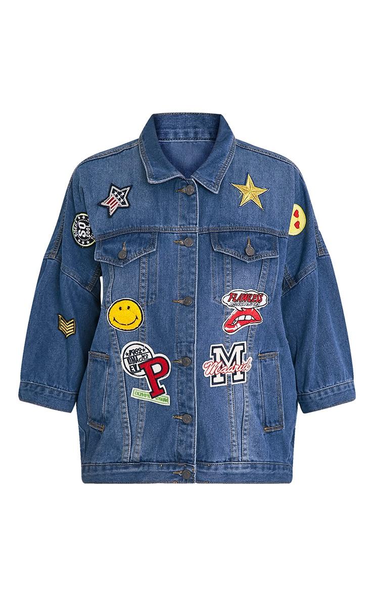Raquisha veste surdimensionnée à badges délavage moyen 3