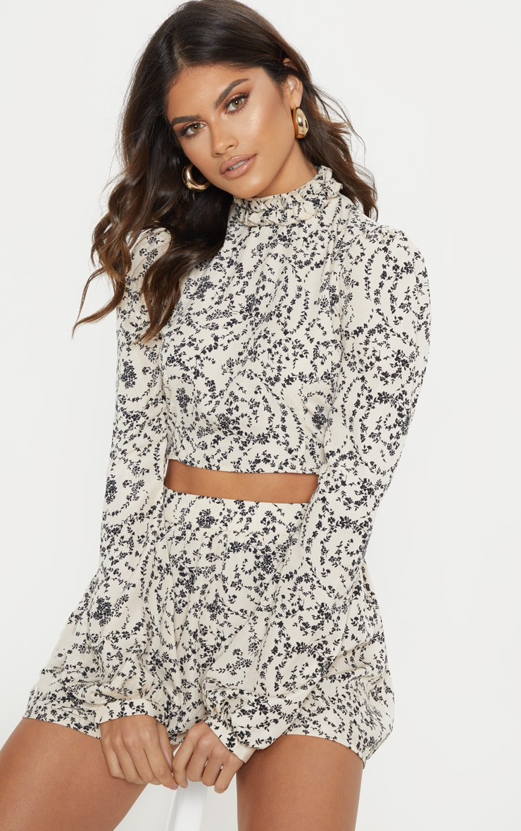 fd2f1d059af21 Cream Ditsy Floral Print High Ruffle Neck Blouse image 1