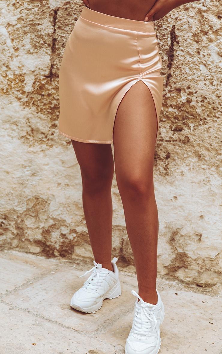 Peach Satin High Waisted Slit Mini Skirt 2