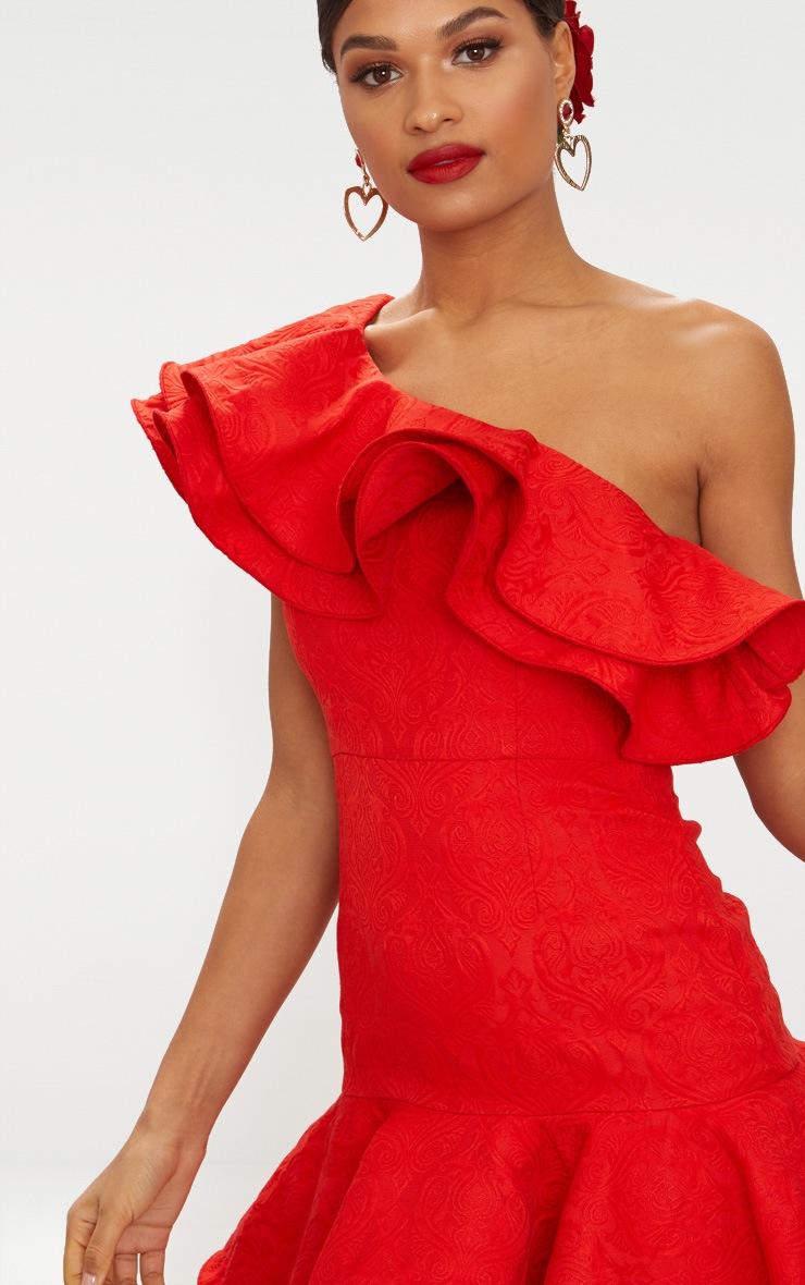 Red Jacquard One Shoulder Frill Drop Hem Dress 6