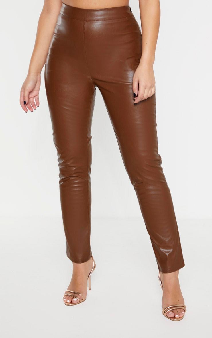 Pantalon cigarette taille haute marron en similicuir  2
