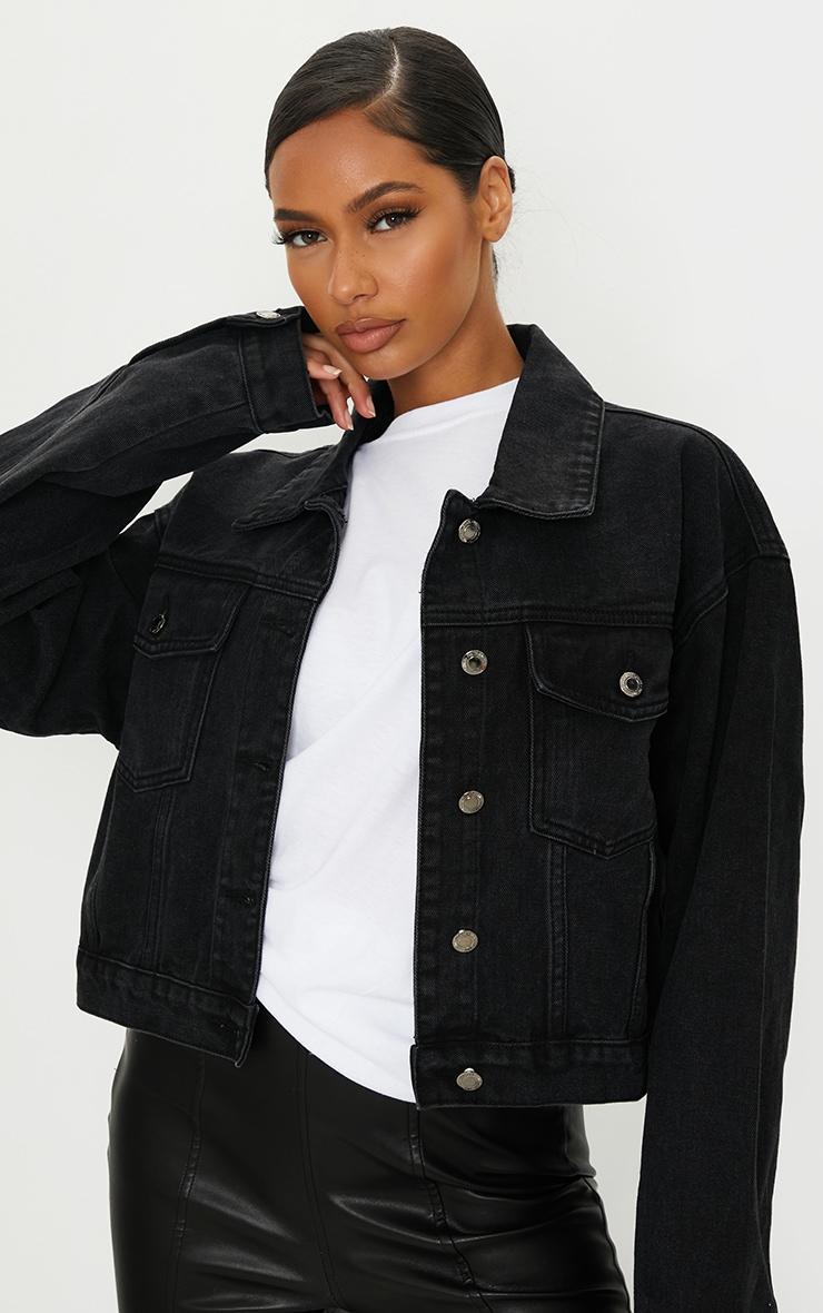 PRETTYLITTLETHING Washed Black Girlfriend Oversized Denim Jacket 1