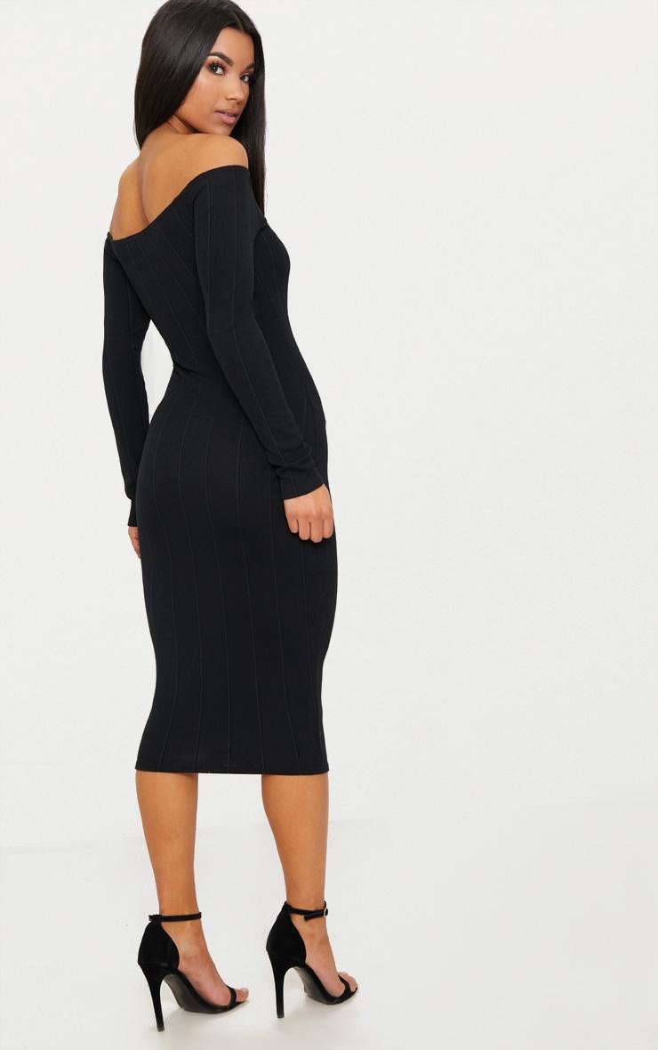 Black Bandage Long Sleeve Bardot Cut Out Detail Midi Dress  2