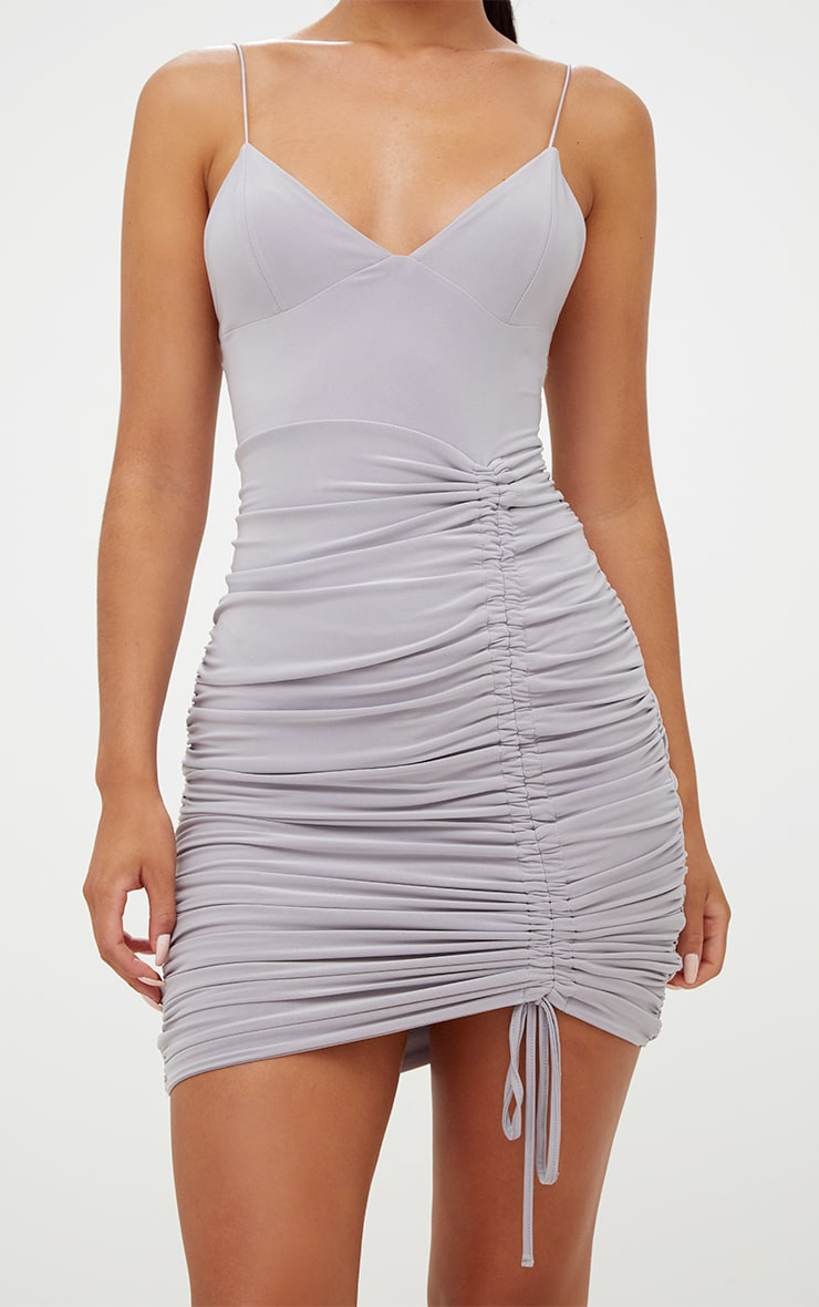 Ice Grey Strappy Plunge Ruched Tie Bodycon Dress 6