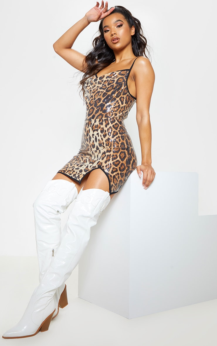 Leopard Sequin Cowl Neck Bodycon Dress 5