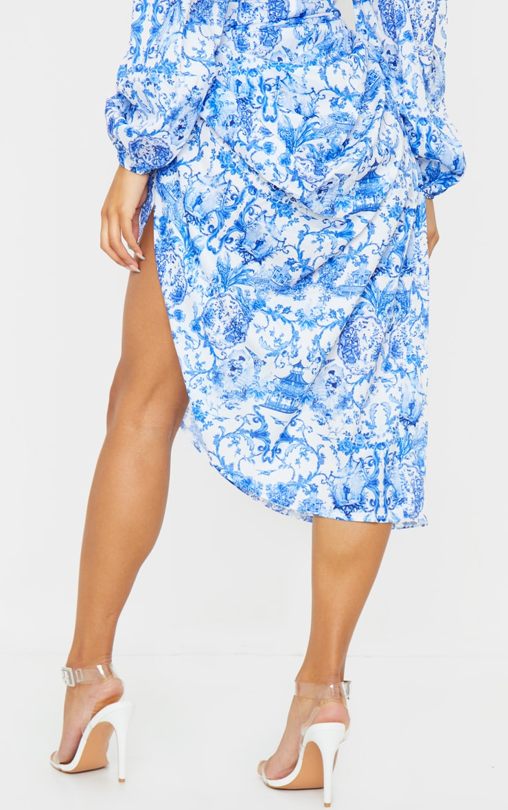 Blue Porcelain Print Ruched Side Midi Skirt 3