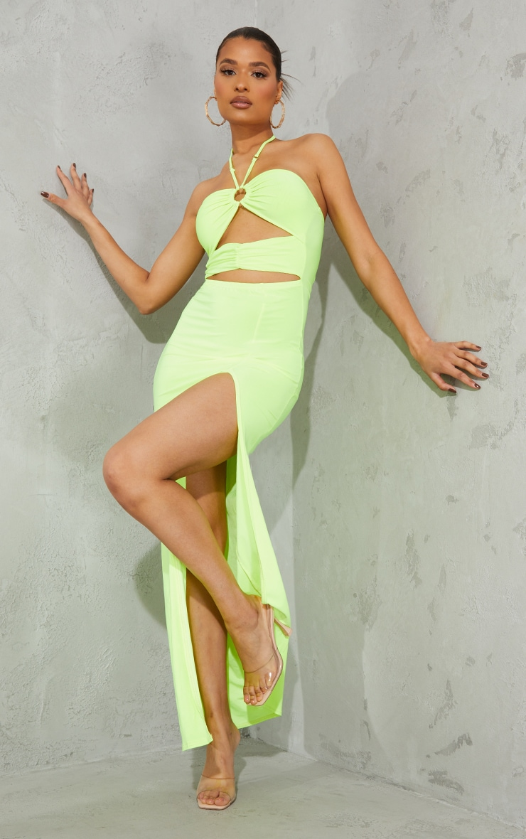Lime Slinky Ring Detail Cut Out Halterneck Maxi Dress