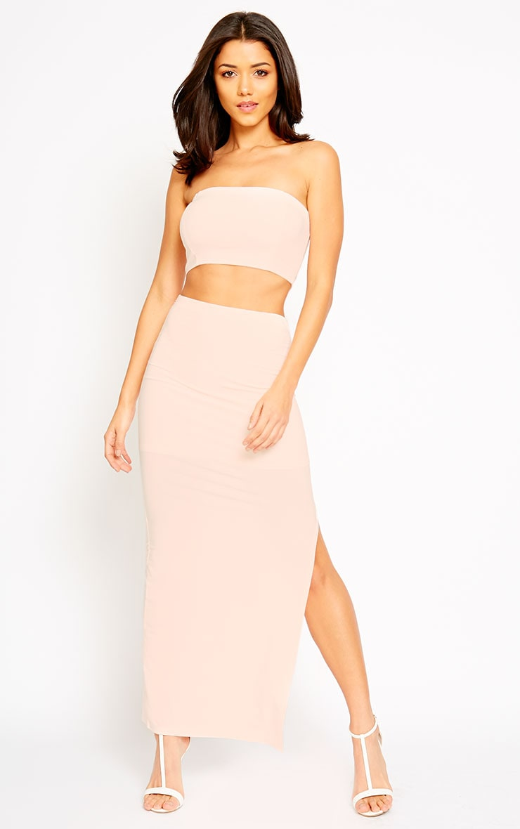 Helsa Nude Slinky Split Maxi Skirt 1