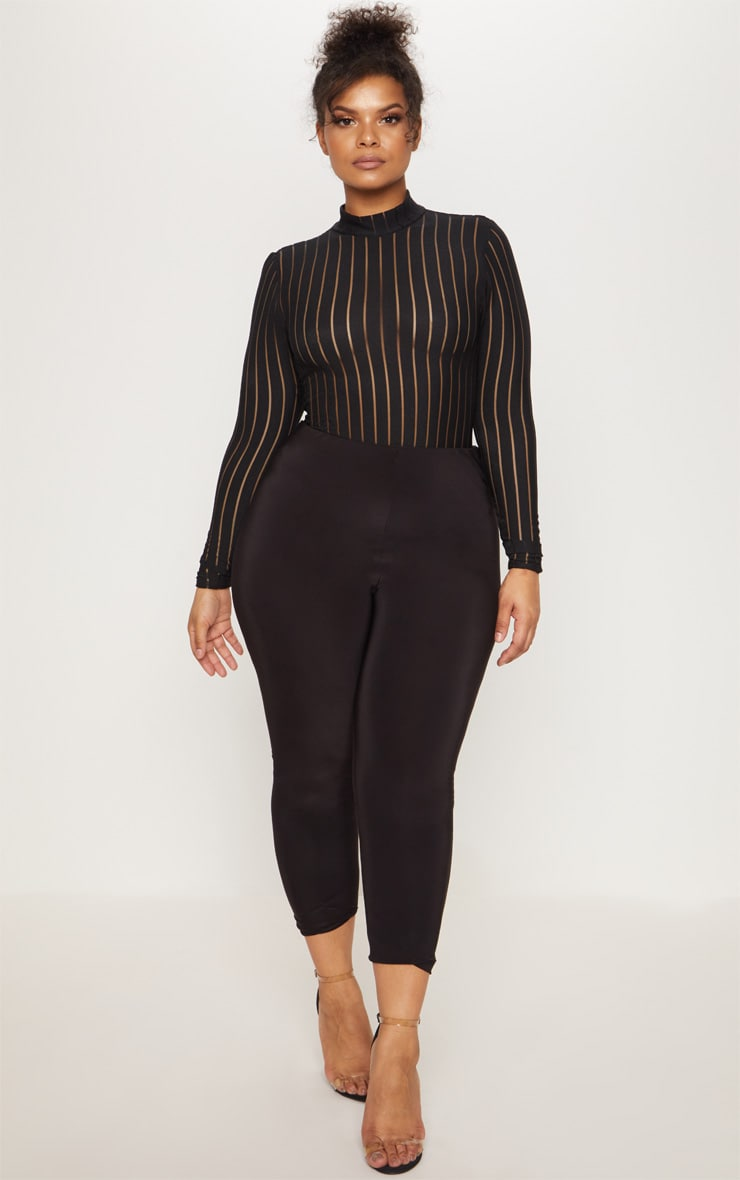 Plus Black Burn Out Striped Mesh Bodysuit 5