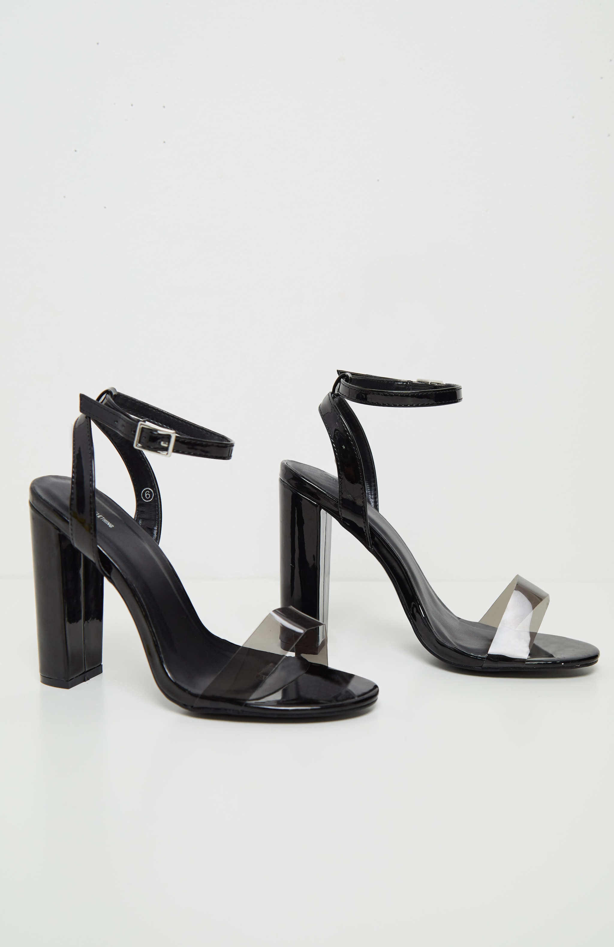 Black Clear Strap Block Heel Sandal 3