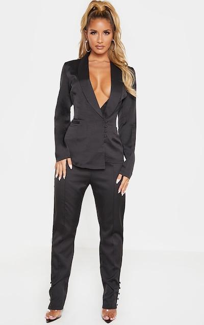Black Woven Button Cuff Detail Skinny Trouser