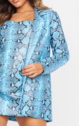 Blue PU Snake Oversized Blazer 5
