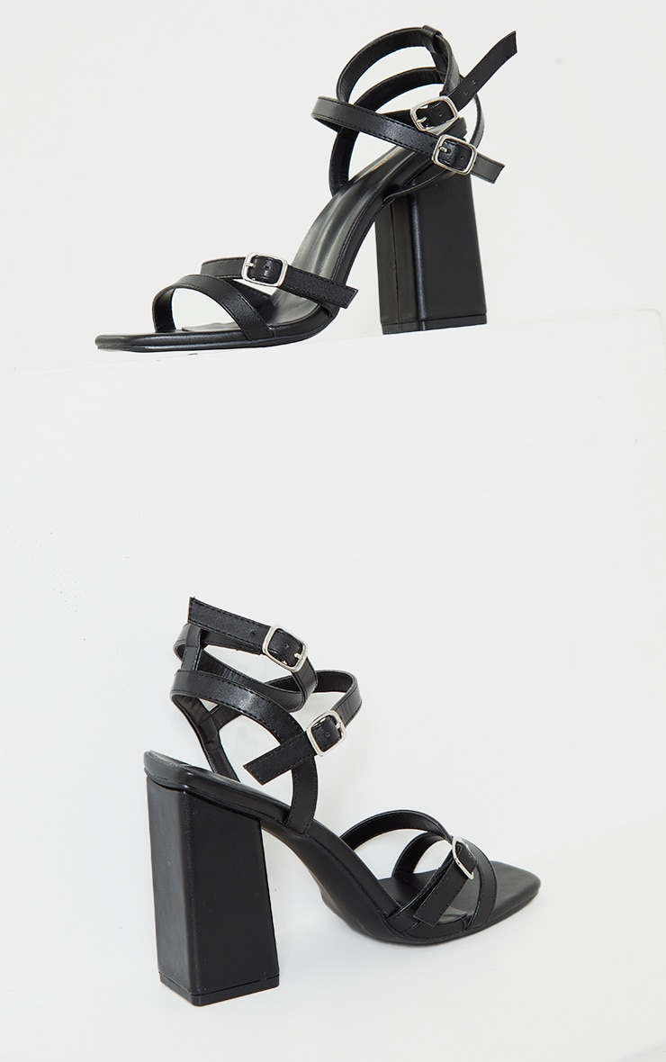 Black Wide Fit PU Buckle Trim Ankle Strap High Block Heels 4