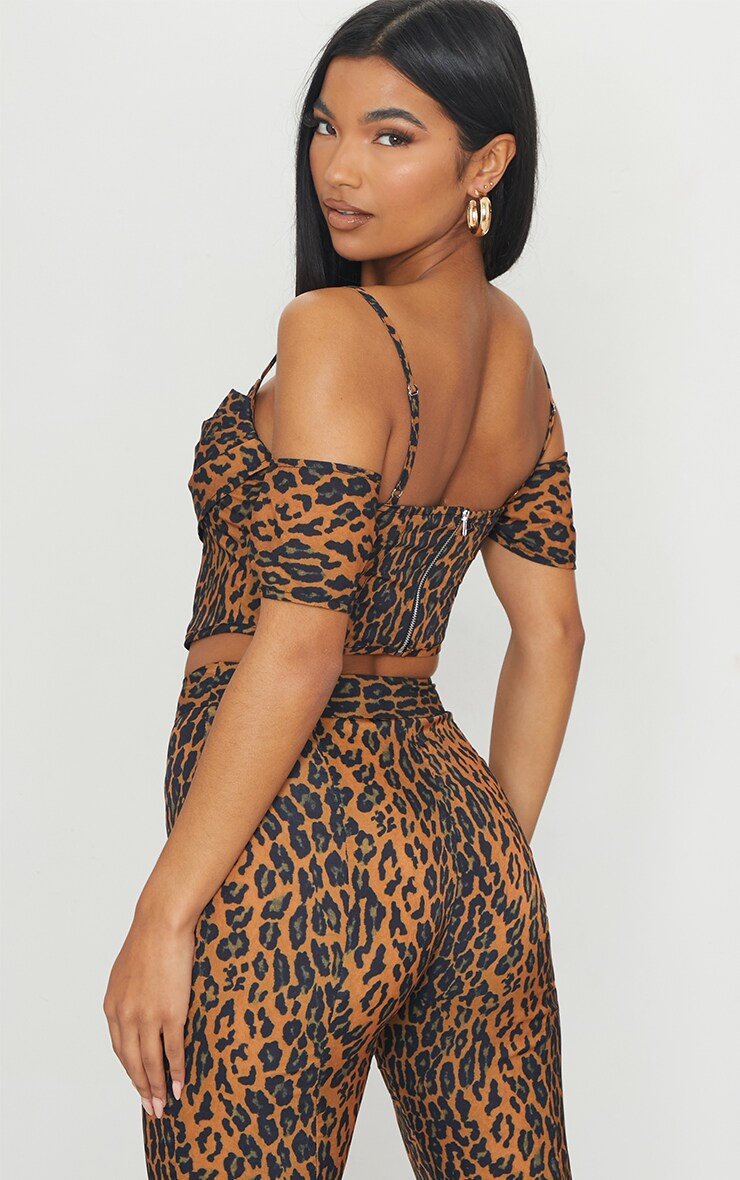 Brown Leopard Print Woven Strappy Bardot Draped Front Corset Detail Top 2