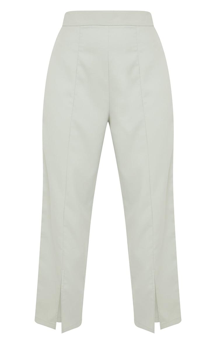 Petite Sage Green Split Hem Cigarette Trousers 5